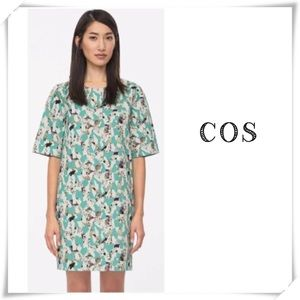 Cos Graphic Printed Denim Shift Dress Green